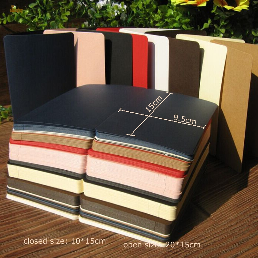 50pcs/lot A6 size 10x15cm/20x15cm foldable colorful paper,nostalgic retro style, DIY word card, Creative memorial greeting cards