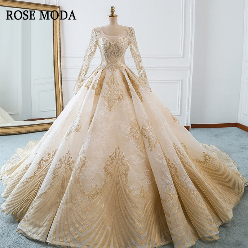 Rose Moda Luxury Gold Wedding Dress Long Sleeves Lace Wedding Dresses 2019 With Beads Long Train Real Photos