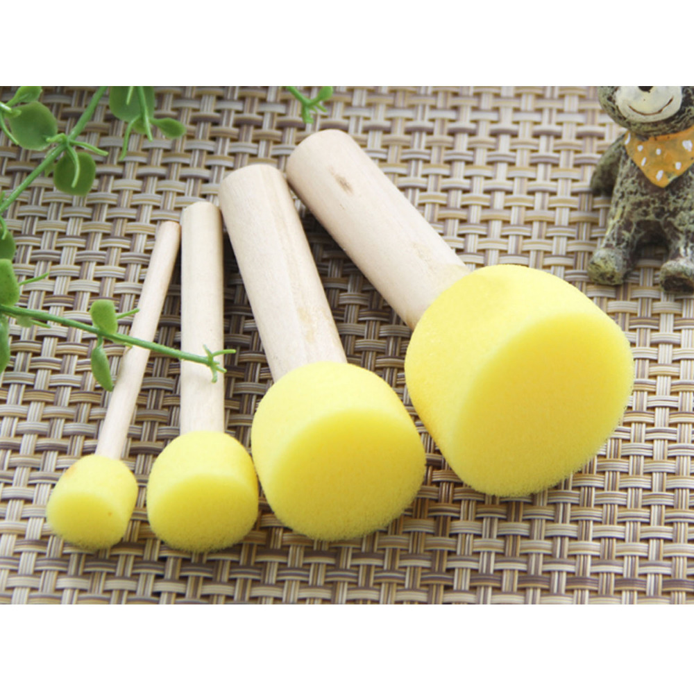 4Pcs/Set Kid Sponge Paint Brush Original Wooden Handle Children Painting Graffiti 4 Sizes Kids Early Learning Toy Accessory