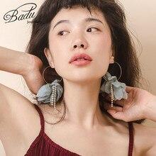 Badu Gold Copper Hoop Earring Green Yarn Flower Pendant Bohemian Earrings Big Statement Jewelry Gift for Girls Wholesale