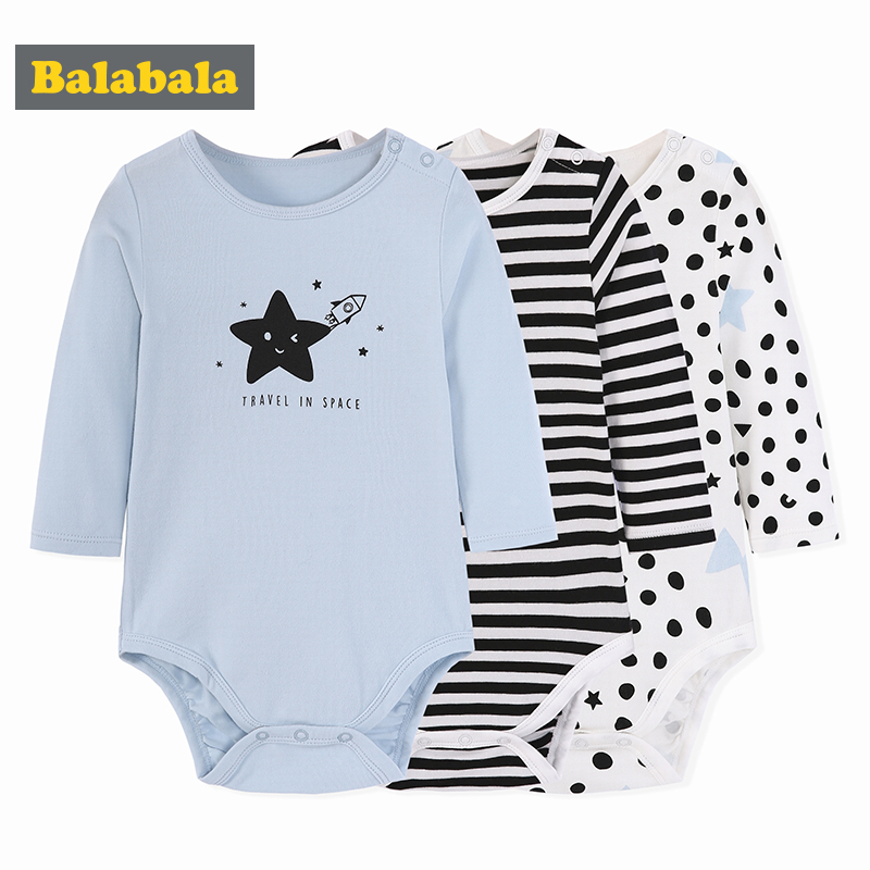 Balabala Jumpsuits 3pcs/lot baby clothes newborn cotton Unisex clothing baby bodysuit for infant Boy Girl Long Sleeve Clothing cotton baby rompers set newborn clothes baby clothing boys girls cartoon jumpsuits long sleeve overalls coveralls autumn winter