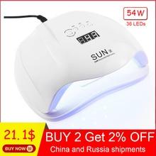 Jewhiteny SUNX 54 Вт УФ-лампа светодио дный лампа для ногтей сушилка для всех гелей лак с инфракрасным зондированием S 30/60/90 s таймер Smart touch кнопка