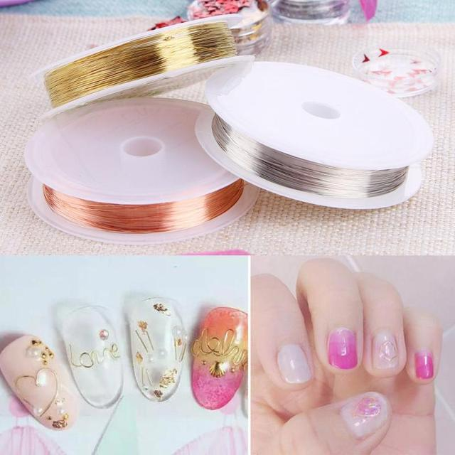 1roll Diy Nail Art Handmade Long Copper Wires 3 Colors Gold Silver