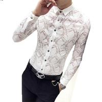 Loldeal wedding Lace Shirt 2018 Fashion Men See Through shirt Party Prom transparent shirt Sexy Long Sleeve Chemise Homme Shirt