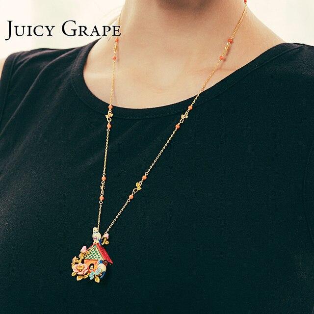 Saftig Traube Französisch Stil Emaille Glasur Vergoldeten Lange Halskette Blau Titten Liebe Vögel Pullover Kette Frauen Zubehör