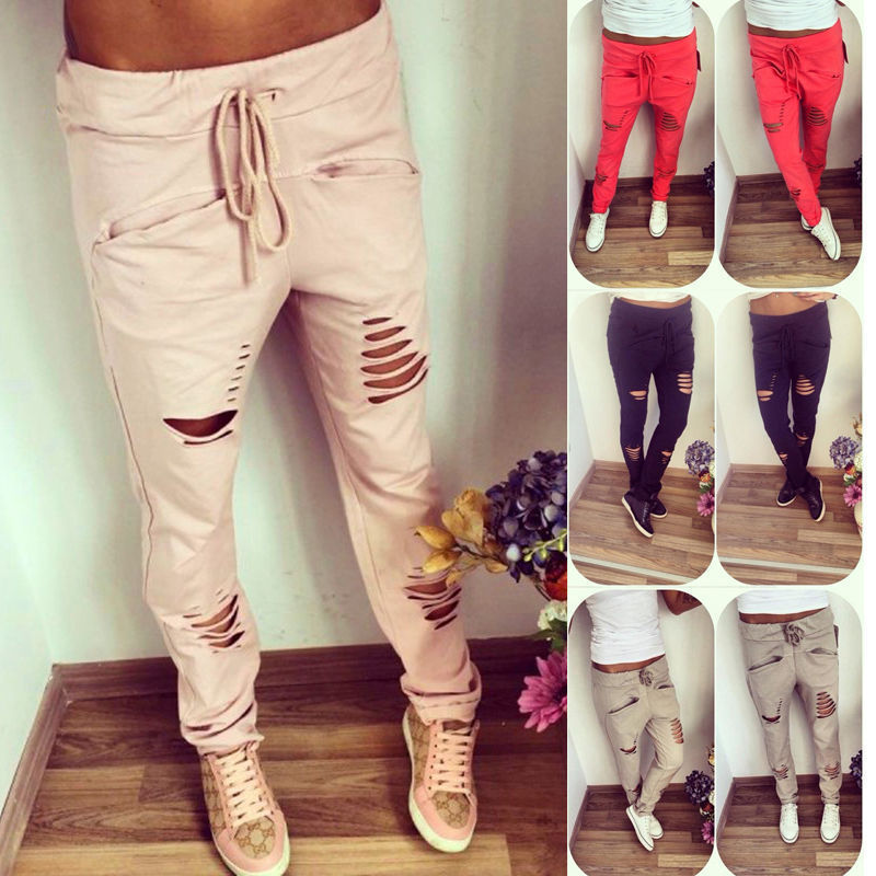 High Waist Skinny Fashion Jeans for Women  Hole Ripped Slit Punk Vintage Girls Slim Ripped Lace Up Denim Pencil Pants