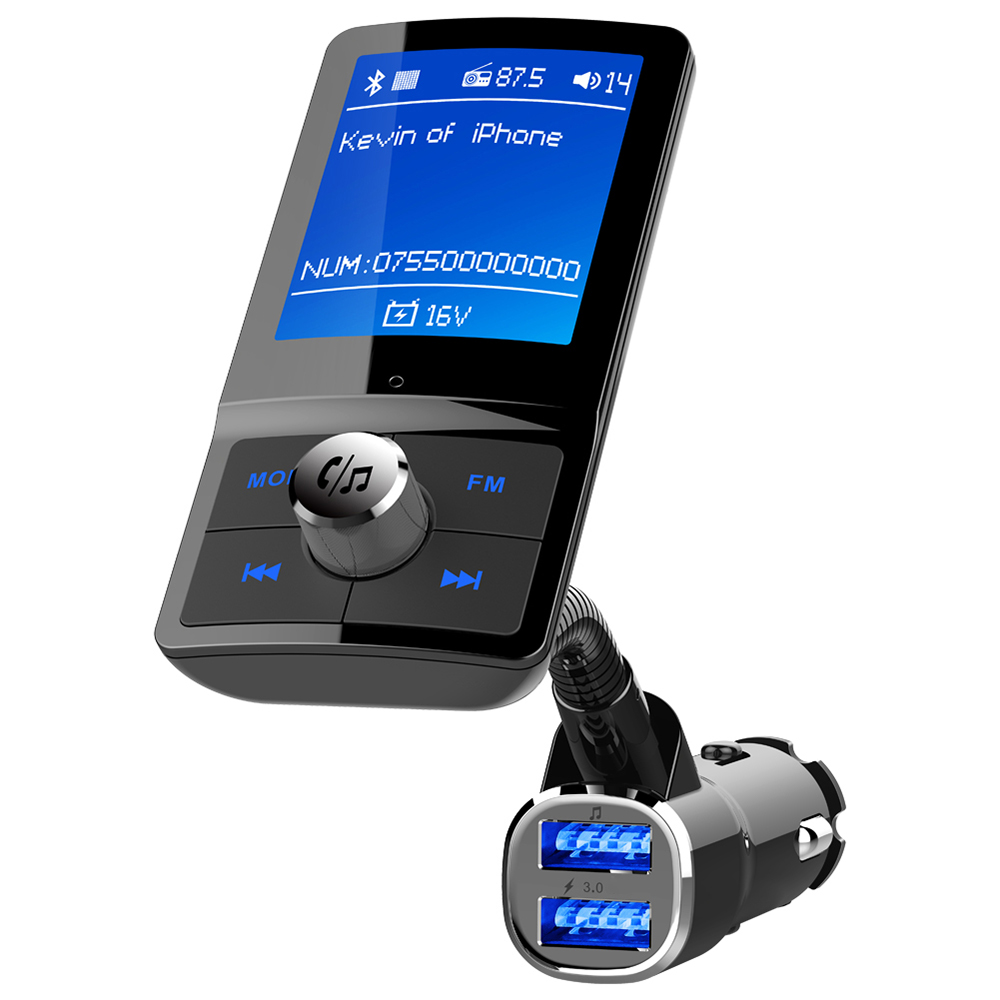 <font><b>bluetooth</b></font> Car <font><b>mp3</b></font> Music <font><b>Player</b></font> <font><b>FM</b></font> <font><b>Transmitter</b></font> modulator HandsFree Call Support for Siri Voice Assistant <font><b>LCD</b></font> Color Display Screen image
