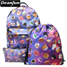 Deanfun Women Canvas Backpacks Printing School Bag for Teenagers Shoulder Mochila