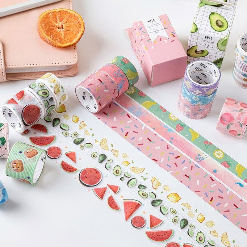 3Pcs Creative Flower Washi Tape Cute Masking Tapes Kawaii Fruit Decorative Adhesive Tape For Kids Scrapbooking DIY Photos Albums