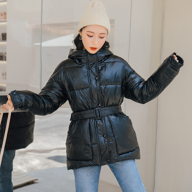 Glossy Warm Women Hooded Coat Solid Soft Cotton Padded Jackets Female Women Slim Belt Winter   Parkas   Jacket Coat 2019 New