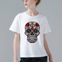 Newest Stylish Melting Flower Skull Design Printed T Shirt Womens Lady Harajuku Novelty Short Sleeve Tee