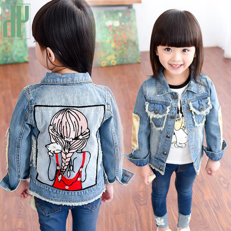 Girls jeans jacket Spring Coat Denim Long Sleeve Outerwear Children Windbreaker baby girls coats and jackets 1 3 4 5 12 Years in Jackets Coats from Mother Kids
