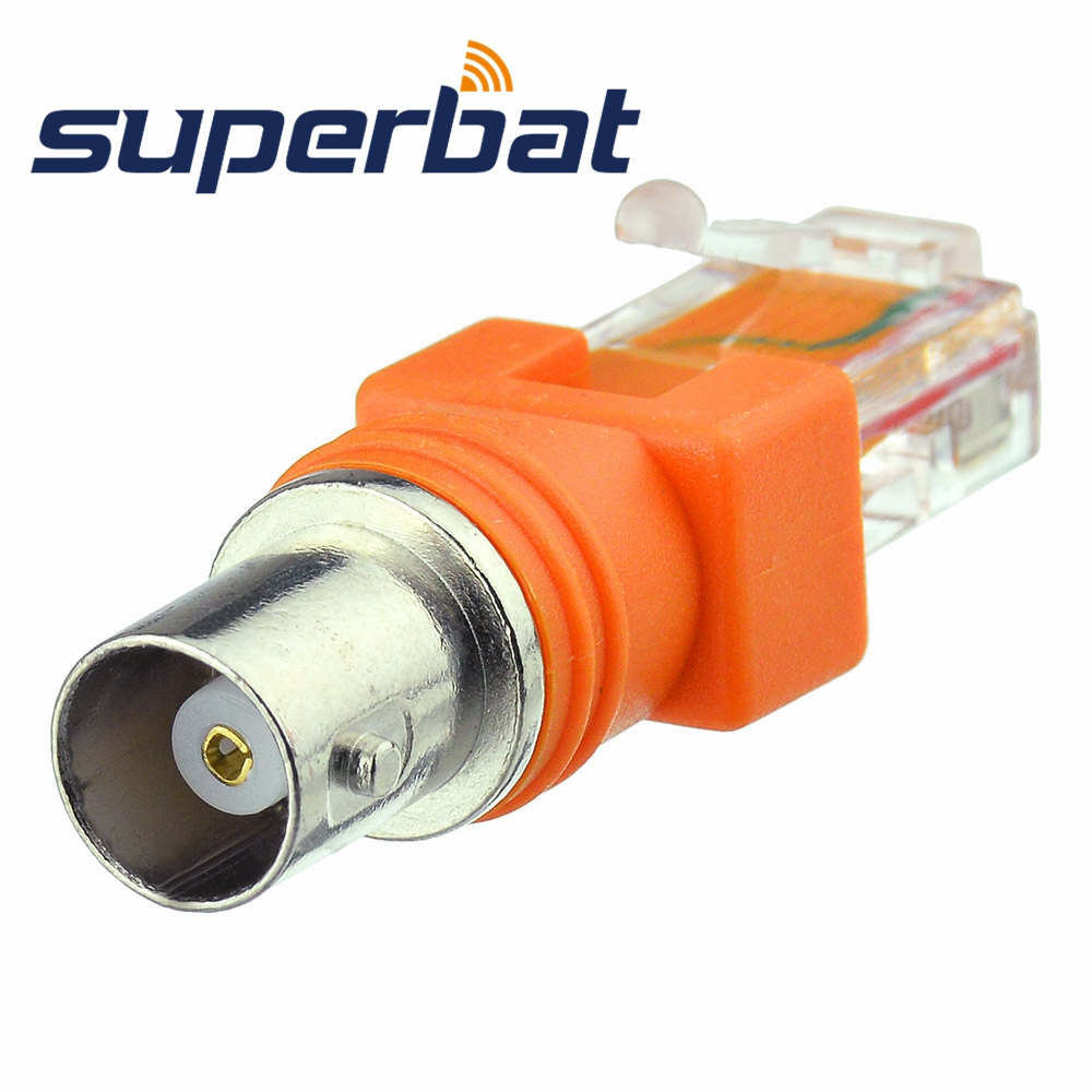 Superbat BNC Female Jack to RJ45 Male Plug Coaxial Coax Barrel Coupler Adapter RJ45 to RF Connector