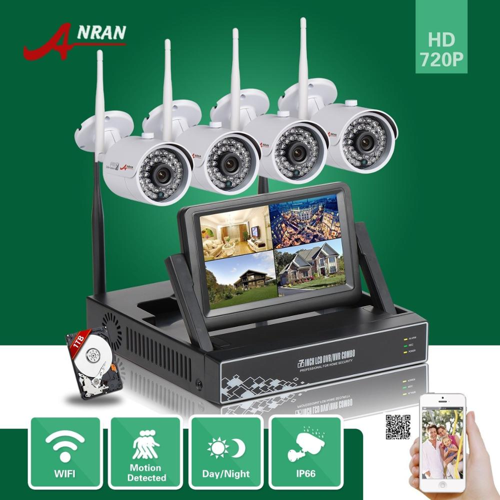 ANRAN 7LCD Monitor HD 4CH Wireless NVR 720P Outdoor IP66 Infrared 36IR Network WIFI IP Camera Surveillance System With 1TB HDD 10 lcd monitor wireless nvr with 4pcs 720p wireless camera make up wireless surveillance system easy instal and easy use