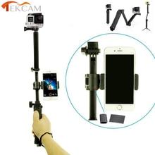 Sjcam sj4000 acessórios 3way tripé monopé selfie vara com celular clipe para sj4000 sj5000 sj6000 sj7000 sj6 lenda m10 m20
