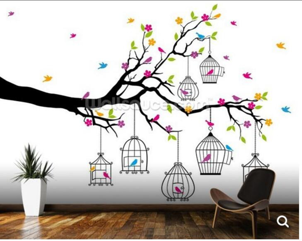 Custom birds flowers wallpaper,Tree with Birdcages,3D mural for living room bedroom sofa background wallpaper home decoration vintage country birds and flowers elegant wallcovering bedding room mural wallpaper