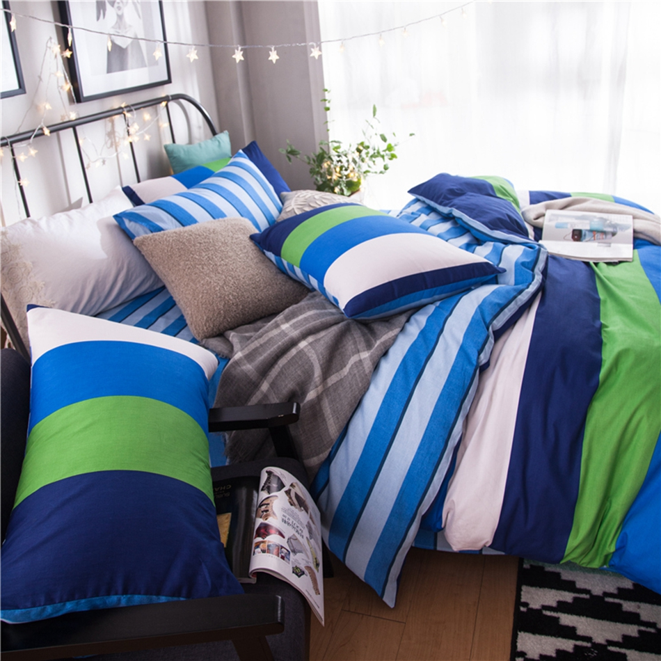 Blue and green striped bedding - Green White Blue Striped Bedding Set Cotton 100 Bright Color Duvet Cover Set Bedding Pillowcase Soft Bed Sheet Warm Quilt Cover In Bedding Sets From Home