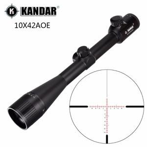 KANDAR 10x42 AOE Glass Reticle Red Illuminated RifleScope Fixed Magnification 10x Hunting Rifle Scope Tactical Optical Sight(China)
