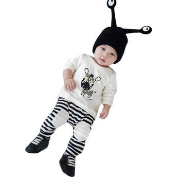 Новорожденный Малыш Младенческая Одежда мальчиков одежда с героями мультфильмов Футболка с принтом топы, штаны комплект для маленьких дев...