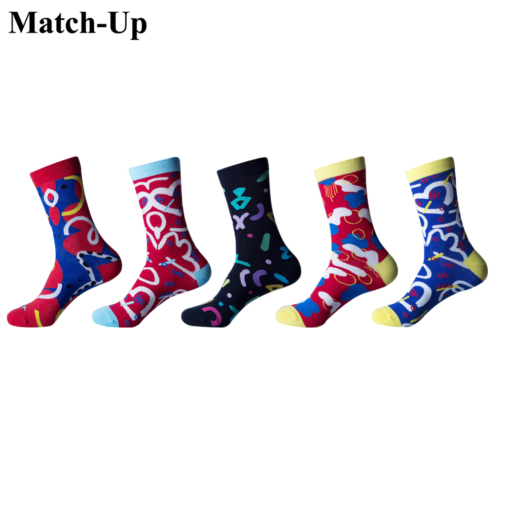 Match-Up  Men's Socks Colorful Square Socks Cotton Men Socks Colorful Variegated Figure Crew Funny Socks (5 Pairs/Lot) US 7.5-12