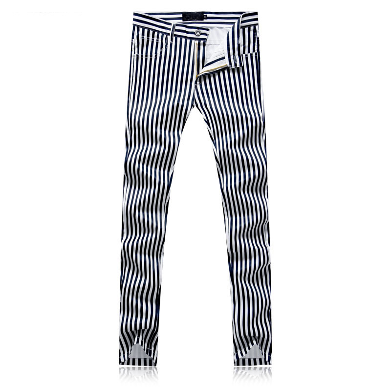 2020 New Men's Printed Black White Stripes Jeans Pants  Painted Denim Joggers For Male Fashion Pattern Jeans Trousers Slim Fit