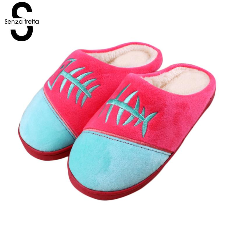 Senza Rretta Women Warm Slippers Fish Bone Couple Indoor Cotton Slippers Non-slip Thick Bottom Women Couple Soft Cotton Slippers фоторамка senza 20х25 см хром 956444
