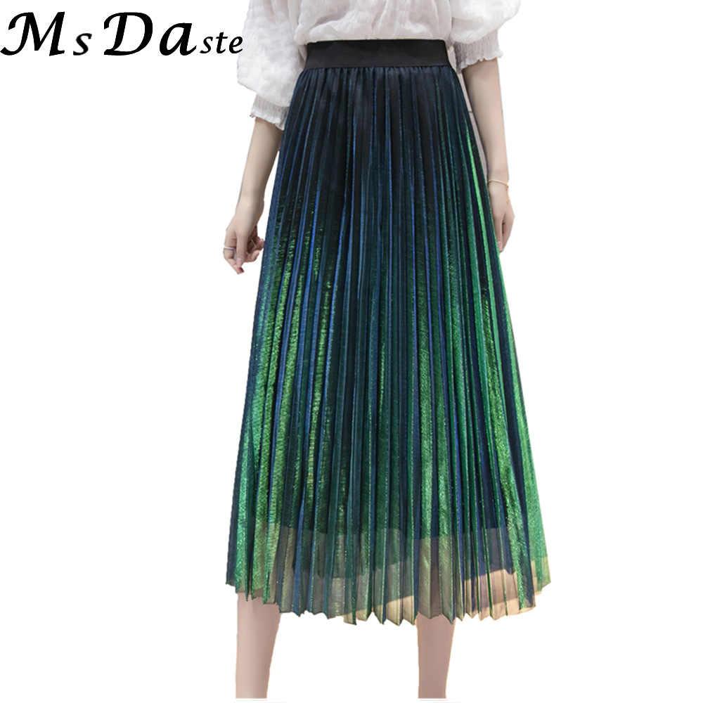 eb43e2086ab Для женщин летние плиссированные юбки для 2019 сетки Midi Saia Высокая  талия Винтаж кружево Женская юбка