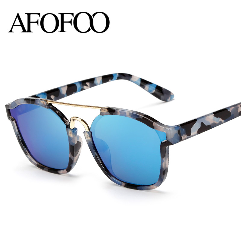 AFOFOO 2016 New Fashion Abstract Sunglasses Brand Designer Women Square Sun glasses Men Mirror Coating Eyewear Oculos de sol