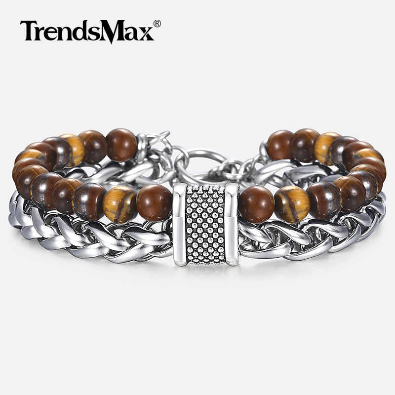"Tiger Eye Stone Men's Beaded Bracelet Stainless Steel Wheat Chain Bracelet Male Wristband Dropshipping Gifts for Men 7.87"" DBM47"