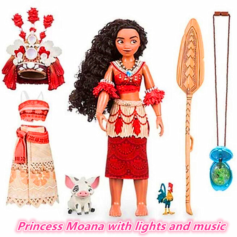 Boneca moana Vaiana Movie Waialiki Maui Heihei Dolls Model With Music Action Figures Kids Lover Christmas Gift Children Toys 12pcs set children kids toys gift mini figures toys little pet animal cat dog lps action figures