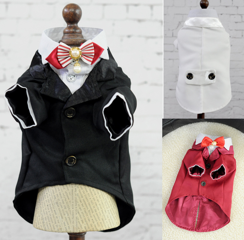 Small Pet dog cat Wedding tuxedo Suit garment clothes Costume vintage Party luxury dog puppy coat jacket with Pearl Bowtie