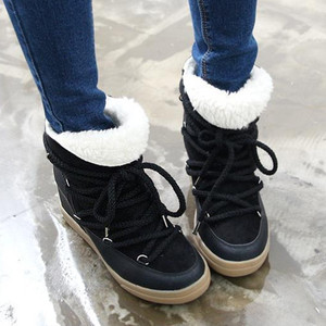Image 3 - Glimlach Cirkel 2019 Winter Schoenen Voor Vrouwen Lace Up Wedge Laarzen Vrouwen Hoge Hak Lift Schoenen Enkellaarsjes warm Pluche Snowboots