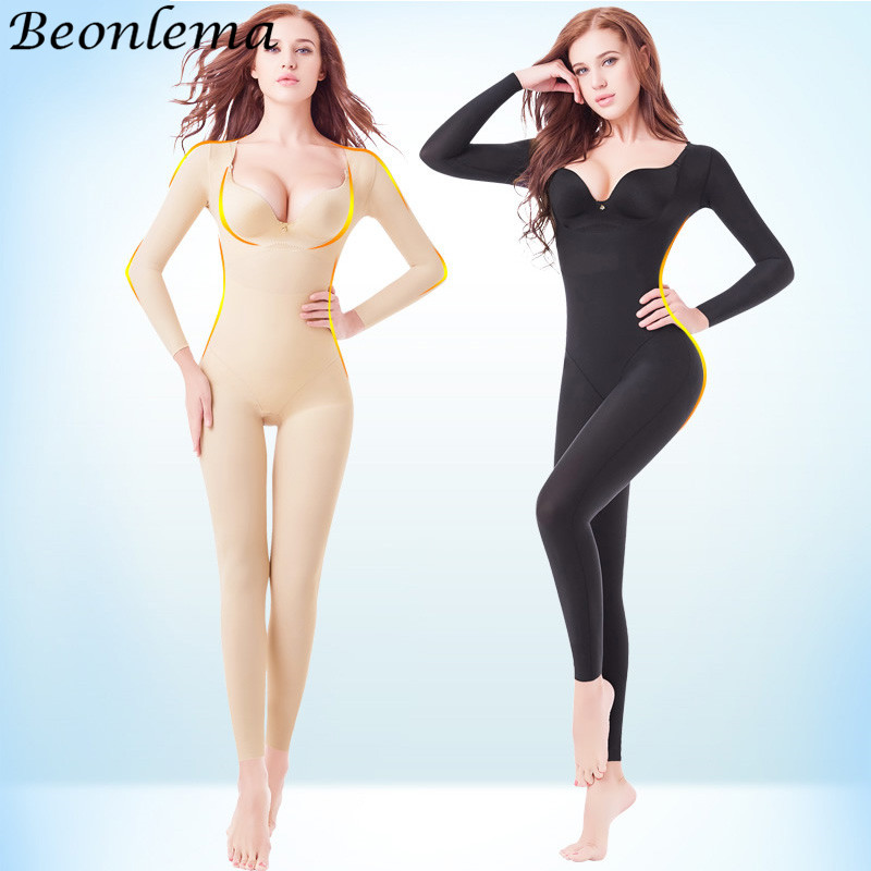 Beonlema Body Shaping Full Cover Bodysuit Seamless Slimming Shapewear Long Sleeve Stretchy Shaper Women Belly Modeling S-2XL