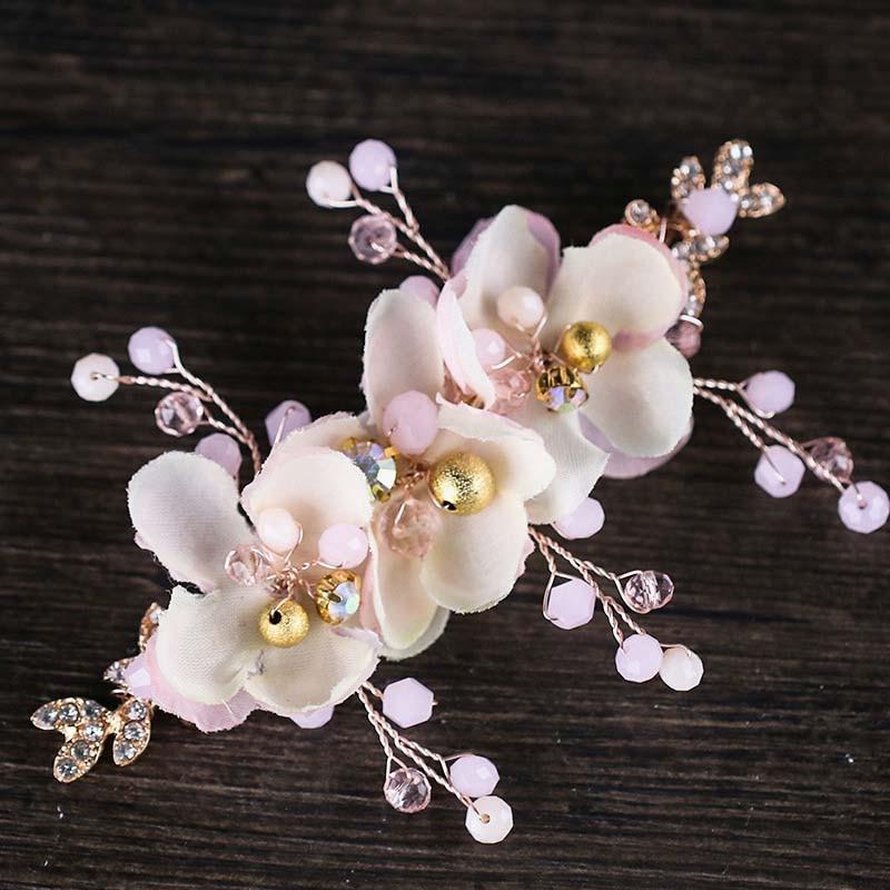 Romantic Pink Cloth Flower Hairpin Headband Crystal Bride Hair Pins Headdress Wedding Hair Clip Hair Jewelry Accessories BH