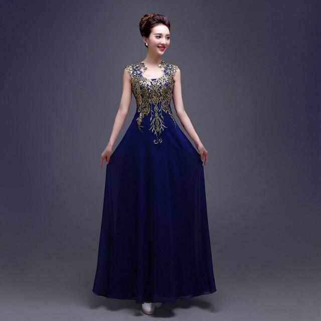 31b8acfd3b5b7 Vestidos de madrinha 2019 new chiffon bordados sexy decote em V UMA linha azul  royal borgonha
