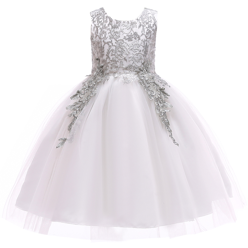Embroidery Flower Girls Wedding Dress Kids Party Dresses For Girls Princess Dress Children Christmas Costume Girls Clothing 2-10