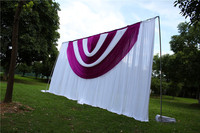 3X6M White Wedding Backdrop Curtain With Purple+White Swag Pleated For Wedding Event&Party&Banquet Decoration(Lycra Chair Cover)