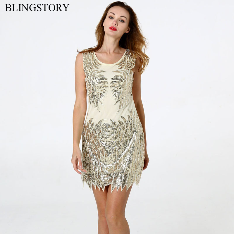 BLINGSTORY Best Selling 2018 Products 1920s Retro Banquet Evening Party Sequin Dress Women Sale Dropshipping KR2013