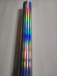 Plain holographic foil silver color rainbow light seamless hot press on  paper or plastic 64cm x 120m stamping foil