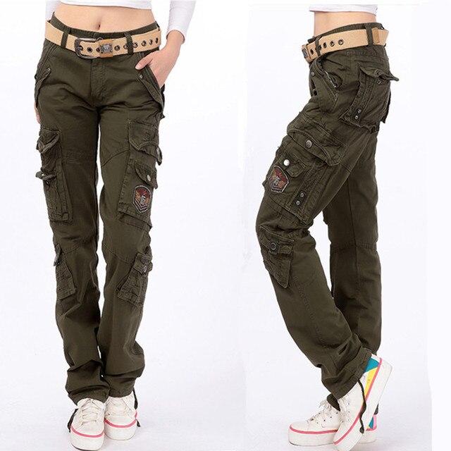 2019 femmes hommes 100% coton armée vert combat baggy pantalon
