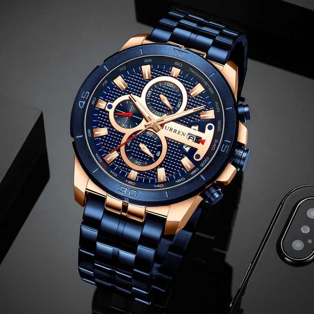 CURREN Men's Luxury Brand Business Steel Casual Waterproof Male Chronograph Auto Date Quartz Watches 4