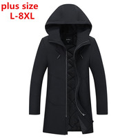 Plus Size 8xl Large Size 28 Degree Temperature Parka Men Cotton Padded Long Thick Warm Casual