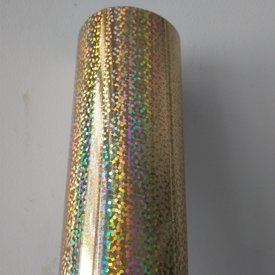 Hot stamping foil holographic foil gold A09 little dot pattern hot press on paper or plastic materials transfer film hot foil hot stamping foil holographic foil gold oblique light beam pattern hot press on paper or plastic meterials heat transfer film