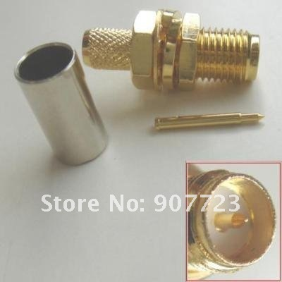 100pcs RP SMA Female Male pin Crimp RF Connector For RG58 LMR195 Cable