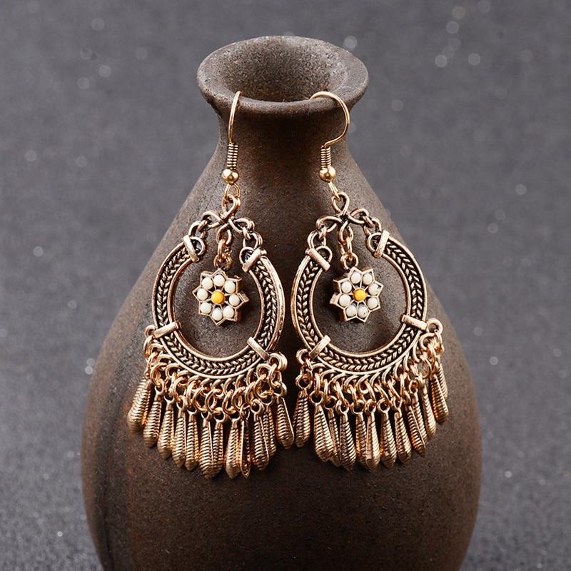2020 Qadın Tunc / Gümüş Rəng Vintage Etnik Jhumka Jhumki Sırğalar Hindistan Cənubi Zinət əşyaları Bohemia Boho Sırğalar HQE310