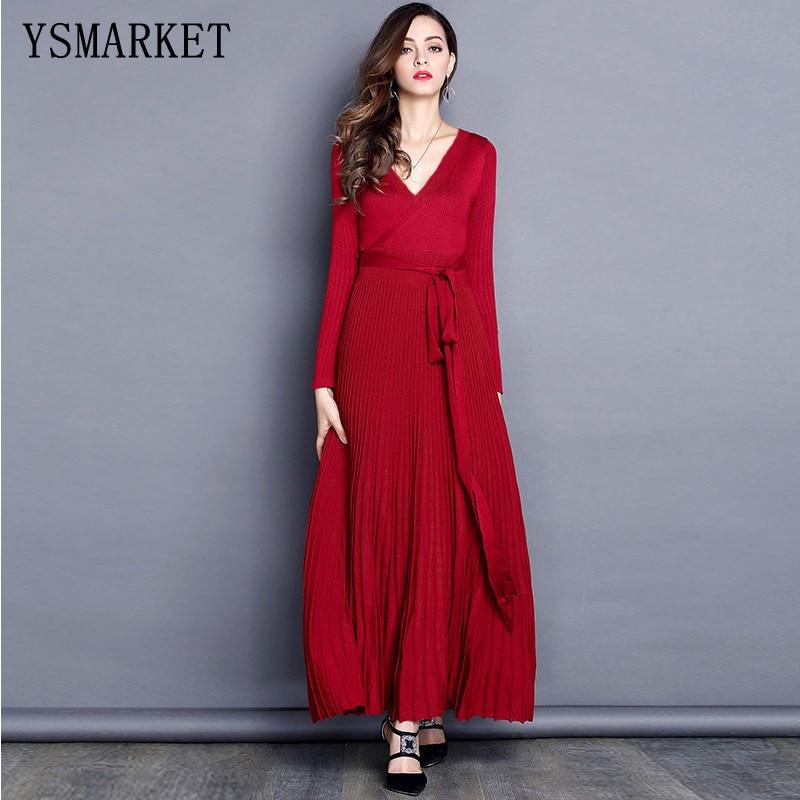 цена YSMARKET 2018 black / burgundy / purple women knitted dress sexy deep v neck tie belt long sleeve pleated maxi dress E88-4 онлайн в 2017 году