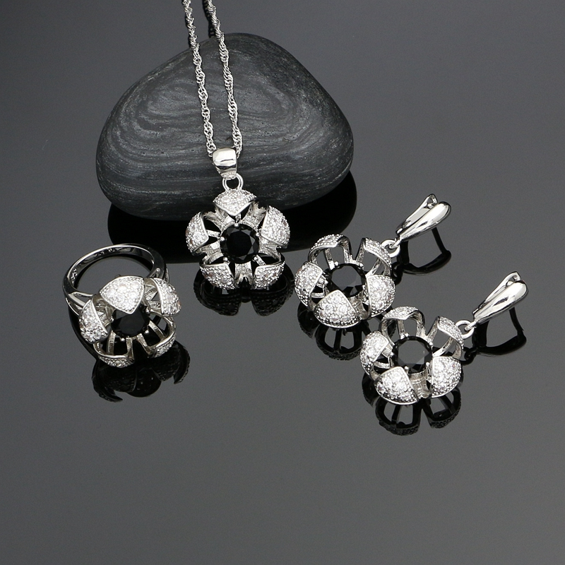 925-Jewelry-Sets Crystal Rings/necklace-Set Silver Natural-Black Cubic-Zirconia Women