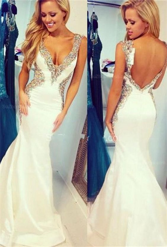 Robe de soirée longue 2017 blanc col en v sirène longues robes de soirée sans manches perlée dos nu robes de soirée Vestido de gala