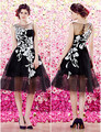 2016 Hot Sale Ball Gwon Scoop Sleeveless Black White Embroidery Knee Length Tulle Prom Dresses vestidos de festa