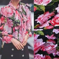 140cm Width Silk Fabric Big Rose Flowers Print Soft Silk Crepe Fabric For Women Dress Mulberry Silk Satin Shirt Fabric Tissue
